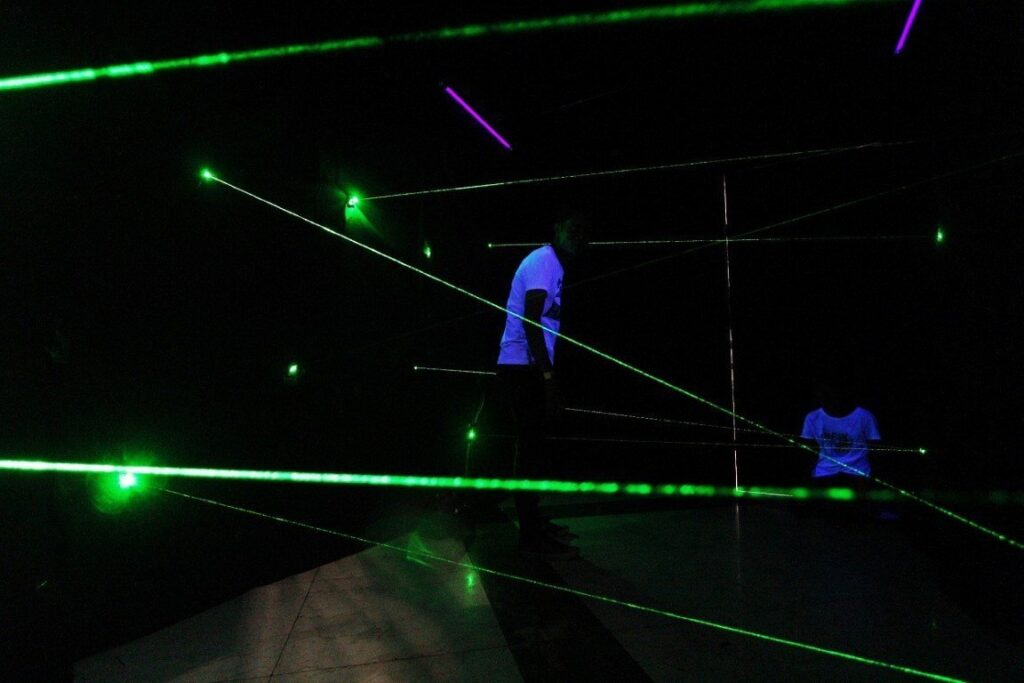 Challengers of the Scorpion Laser Room got a taste of action as they attempted to dodge crisscrossing lasers under two minutes.