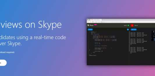 Skype's video call feature with real-time code editor