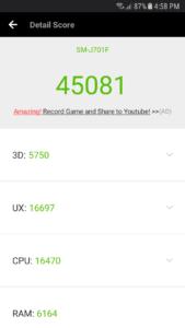 Samsung Galaxy J7 Core - Antutu Score - geekstamatic.com