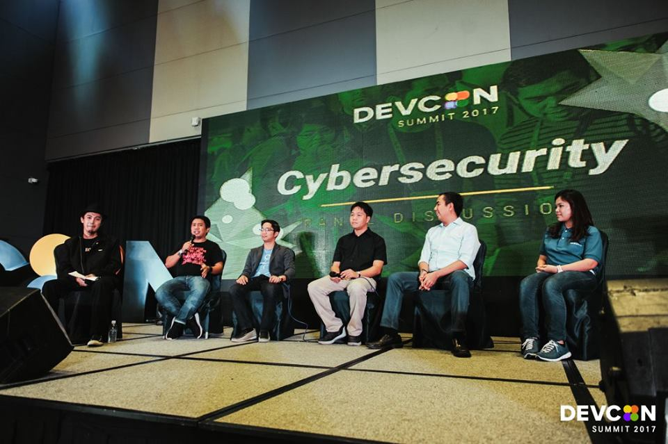 [L-R: Anton Orphilla (Moderator), Dax Labrador, Ed Salinas, Glen Dimaandal, Alvin Gendrano, and Berlyn Decena.] at Panel Discussion on Cybersecurity